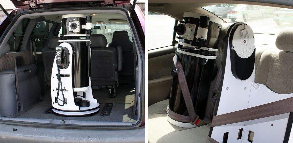dobsonian telescope in a car