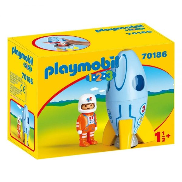playmobil 123 astronaut with rocket multi coloured 70186