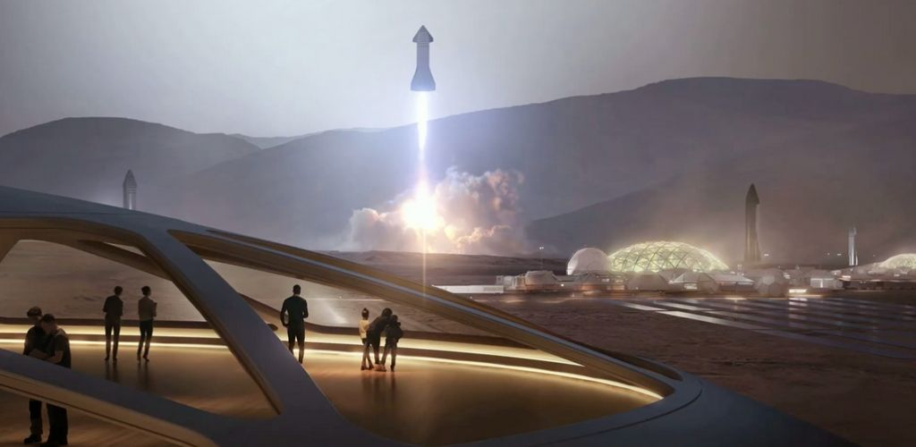 starship launch on mars