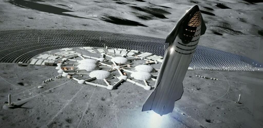 starship launch on the moon