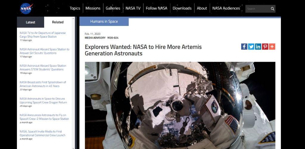NASA call for astronauts